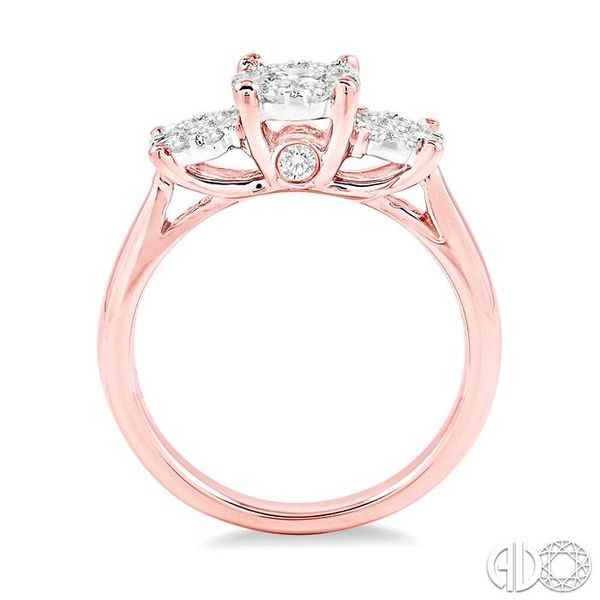 3/4 Ctw Lovebright Round Cut Diamond Ring in 14K Rose and White Gold Image 3 Robert Irwin Jewelers Memphis, TN