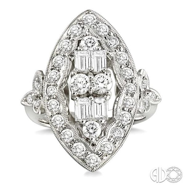 2 Ctw Baguette and Round Cut Traditional Diamond Ring in 18K White Gold Image 2 Robert Irwin Jewelers Memphis, TN