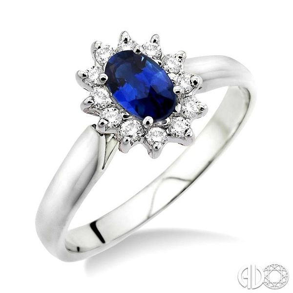 6x4MM Oval Cut Sapphire and 1/5 Ctw Round Cut Diamond Ring in 14K White Gold Robert Irwin Jewelers Memphis, TN