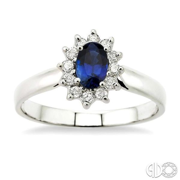 6x4MM Oval Cut Sapphire and 1/5 Ctw Round Cut Diamond Ring in 14K White Gold Image 2 Robert Irwin Jewelers Memphis, TN