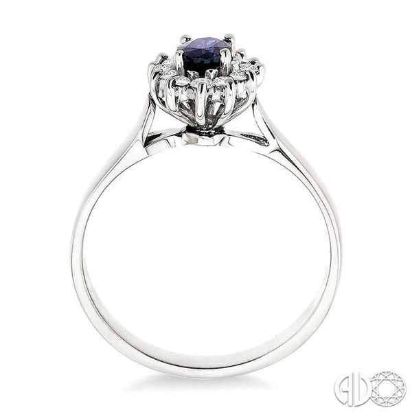 6x4MM Oval Cut Sapphire and 1/5 Ctw Round Cut Diamond Ring in 14K White Gold Image 3 Robert Irwin Jewelers Memphis, TN