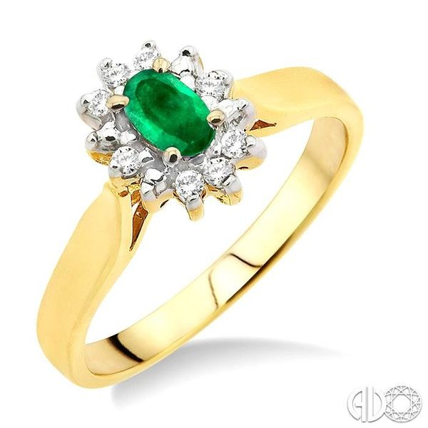 5x3mm Oval Cut Emerald and 1/10 Ctw Round Cut Diamond Ring in 10K Yellow Gold Robert Irwin Jewelers Memphis, TN