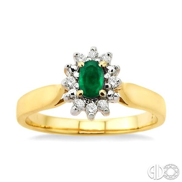5x3mm Oval Cut Emerald and 1/10 Ctw Round Cut Diamond Ring in 10K Yellow Gold Image 2 Robert Irwin Jewelers Memphis, TN