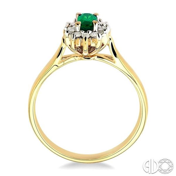 5x3mm Oval Cut Emerald and 1/10 Ctw Round Cut Diamond Ring in 10K Yellow Gold Image 3 Robert Irwin Jewelers Memphis, TN