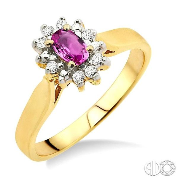 5x3mm Oval Cut Pink Sapphire and 1/10 Ctw Round Cut Diamond Ring in 10K Yellow Gold Robert Irwin Jewelers Memphis, TN
