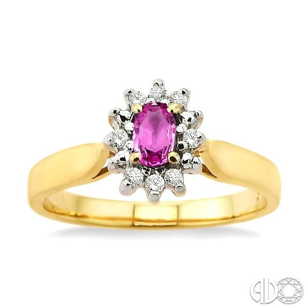 5x3mm Oval Cut Pink Sapphire and 1/10 Ctw Round Cut Diamond Ring in 10K Yellow Gold Image 2 Robert Irwin Jewelers Memphis, TN