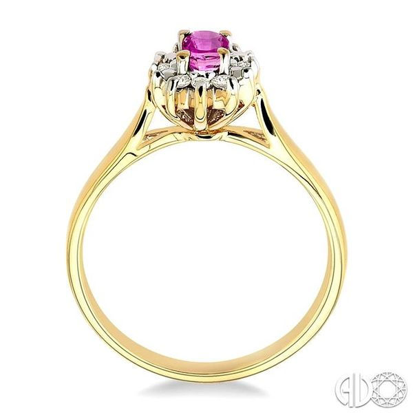 5x3mm Oval Cut Pink Sapphire and 1/10 Ctw Round Cut Diamond Ring in 10K Yellow Gold Image 3 Robert Irwin Jewelers Memphis, TN