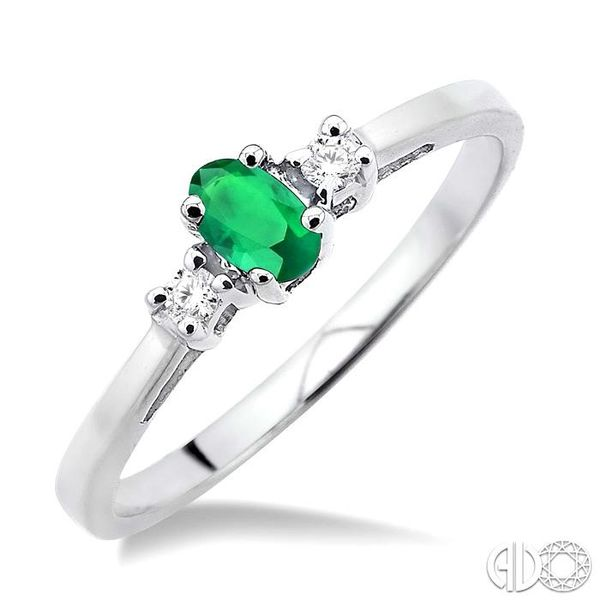5x3mm Oval Cut Emerald and 1/20 Ctw Round Cut Diamond Ring in 10K White Gold Robert Irwin Jewelers Memphis, TN