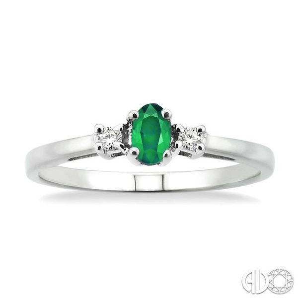 5x3mm Oval Cut Emerald and 1/20 Ctw Round Cut Diamond Ring in 10K White Gold Image 2 Robert Irwin Jewelers Memphis, TN