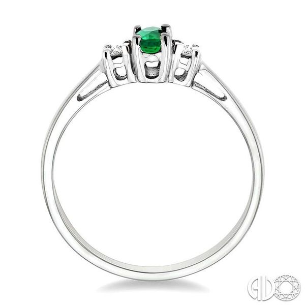 5x3mm Oval Cut Emerald and 1/20 Ctw Round Cut Diamond Ring in 10K White Gold Image 3 Robert Irwin Jewelers Memphis, TN