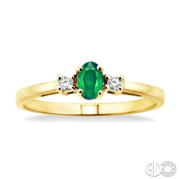 5x3mm Oval Cut Emerald and 1/20 Ctw Round Cut Diamond Ring in 10K Yellow Gold Image 2 Robert Irwin Jewelers Memphis, TN