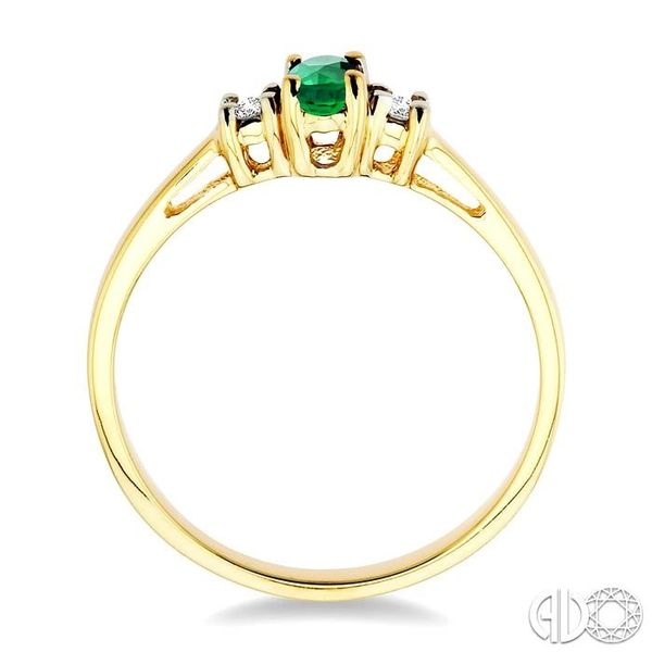 5x3mm Oval Cut Emerald and 1/20 Ctw Round Cut Diamond Ring in 10K Yellow Gold Image 3 Robert Irwin Jewelers Memphis, TN
