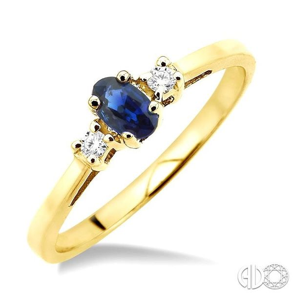 5x3mm Oval Cut Sapphire and 1/20 Ctw Round Cut Diamond Ring in 10K Yellow Gold Robert Irwin Jewelers Memphis, TN