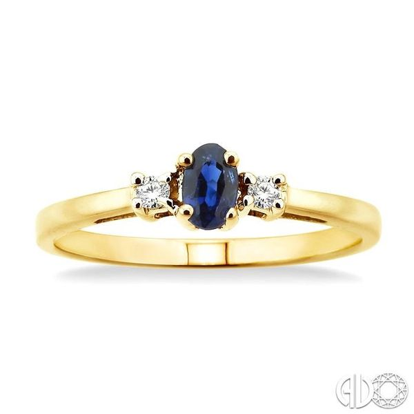 5x3mm Oval Cut Sapphire and 1/20 Ctw Round Cut Diamond Ring in 10K Yellow Gold Image 2 Robert Irwin Jewelers Memphis, TN