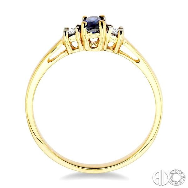 5x3mm Oval Cut Sapphire and 1/20 Ctw Round Cut Diamond Ring in 10K Yellow Gold Image 3 Robert Irwin Jewelers Memphis, TN