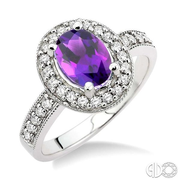 8x6mm Oval Cut Amethyst and 1/3 Ctw Round Cut Diamond Ring in 14K White Gold Robert Irwin Jewelers Memphis, TN