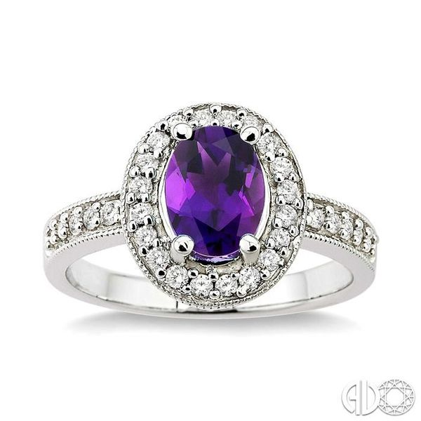 8x6mm Oval Cut Amethyst and 1/3 Ctw Round Cut Diamond Ring in 14K White Gold Image 2 Robert Irwin Jewelers Memphis, TN