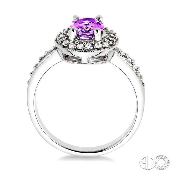 8x6mm Oval Cut Amethyst and 1/3 Ctw Round Cut Diamond Ring in 14K White Gold Image 3 Robert Irwin Jewelers Memphis, TN