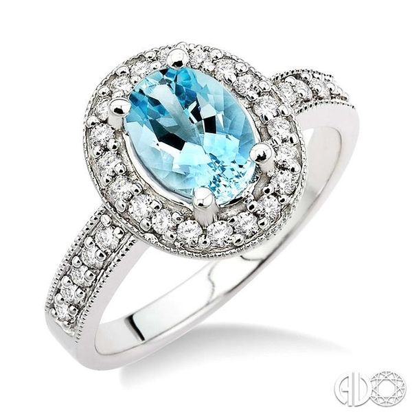 8x6mm Oval Cut Aquamarine and 1/3 Ctw Round Cut Diamond Ring in 14K White Gold Robert Irwin Jewelers Memphis, TN