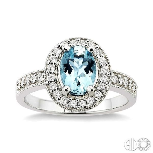 8x6mm Oval Cut Aquamarine and 1/3 Ctw Round Cut Diamond Ring in 14K White Gold Image 2 Robert Irwin Jewelers Memphis, TN