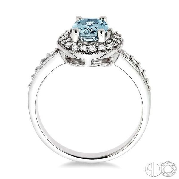 8x6mm Oval Cut Aquamarine and 1/3 Ctw Round Cut Diamond Ring in 14K White Gold Image 3 Robert Irwin Jewelers Memphis, TN