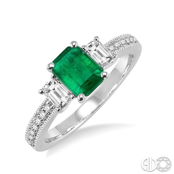 7x5 MM Octagon Cut Emerald and 1/2 Ctw Round Cut Diamond Ring in 14K White Gold Robert Irwin Jewelers Memphis, TN
