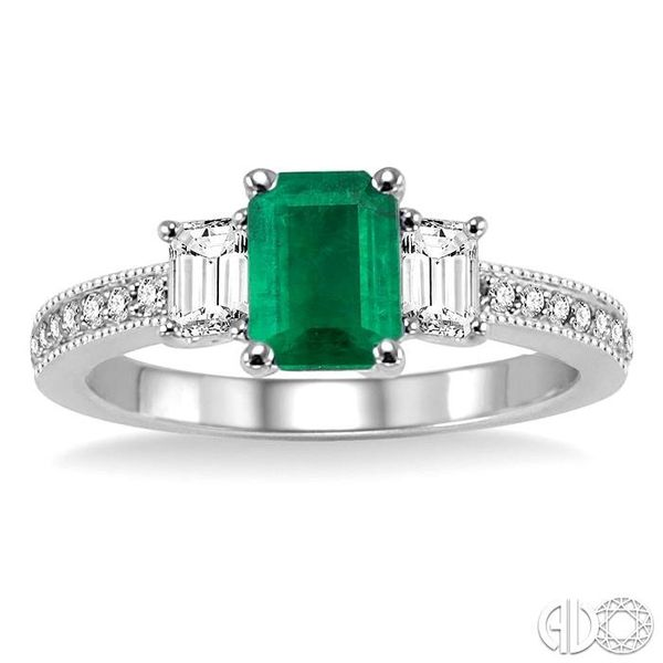 7x5 MM Octagon Cut Emerald and 1/2 Ctw Round Cut Diamond Ring in 14K White Gold Image 2 Robert Irwin Jewelers Memphis, TN