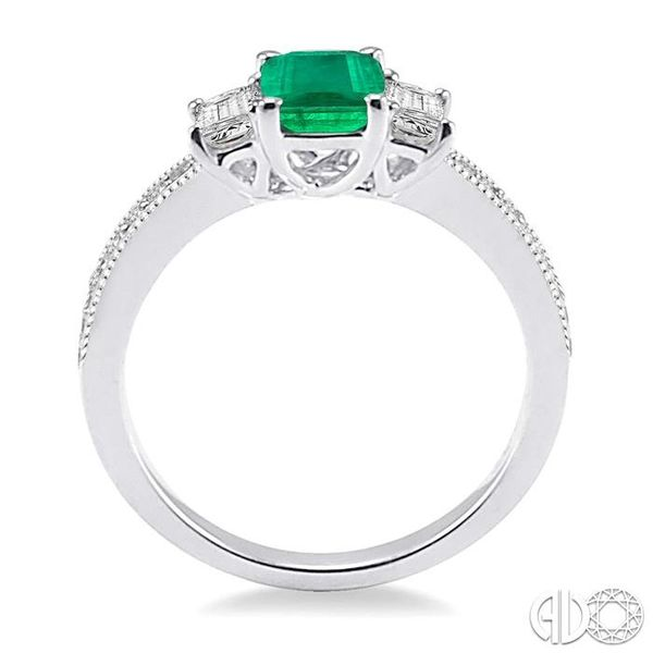 7x5 MM Octagon Cut Emerald and 1/2 Ctw Round Cut Diamond Ring in 14K White Gold Image 3 Robert Irwin Jewelers Memphis, TN