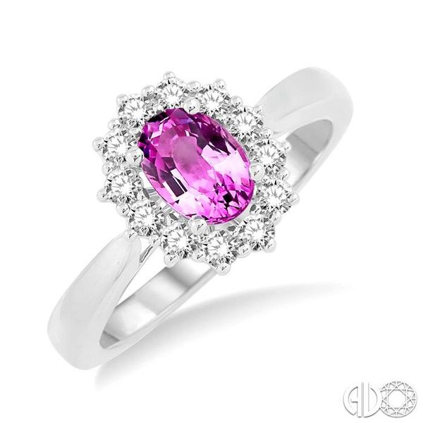 7X5mm Oval Shape Pink Sapphire and 1/3 Ctw Round Cut Diamond Ring in 14K White Gold Robert Irwin Jewelers Memphis, TN