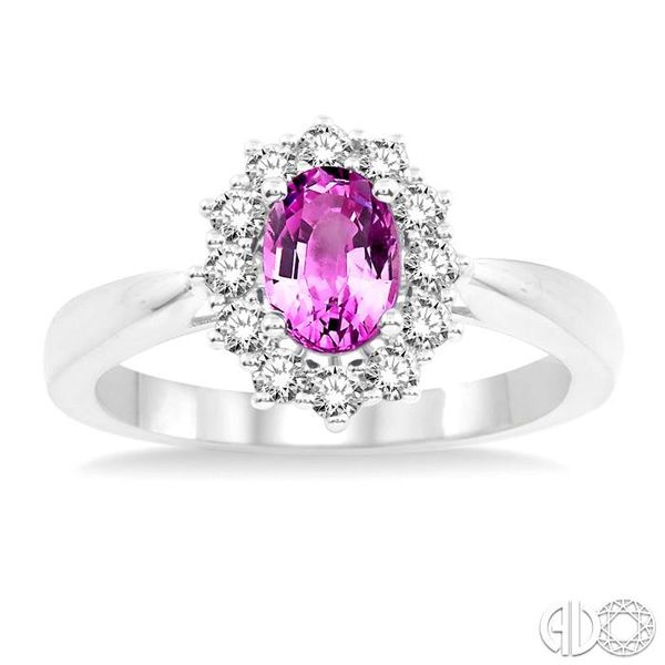 7X5mm Oval Shape Pink Sapphire and 1/3 Ctw Round Cut Diamond Ring in 14K White Gold Image 2 Robert Irwin Jewelers Memphis, TN