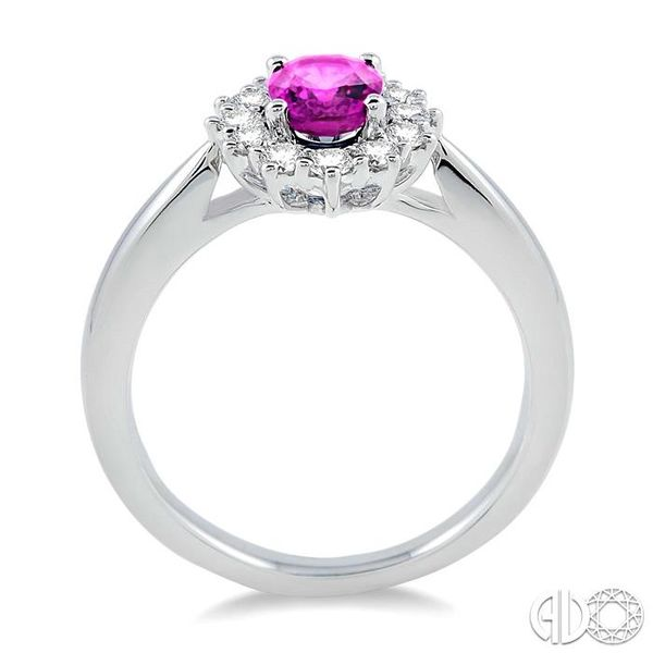 7X5mm Oval Shape Pink Sapphire and 1/3 Ctw Round Cut Diamond Ring in 14K White Gold Image 3 Robert Irwin Jewelers Memphis, TN