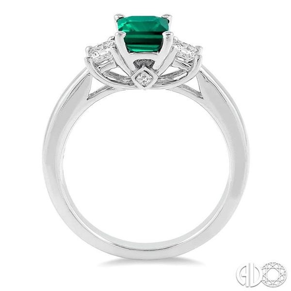 7X5mm Octagon Cut Emerald and 3/8 Ctw Diamond Ring in 14K White Gold Image 3 Robert Irwin Jewelers Memphis, TN