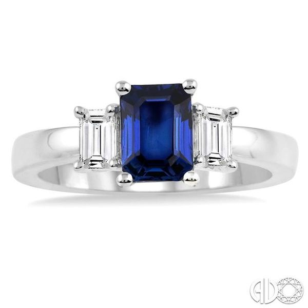 7X5mm Emerald Cut Sapphire and 3/8 Ctw Diamond Ring in 14K White Gold Image 2 Robert Irwin Jewelers Memphis, TN