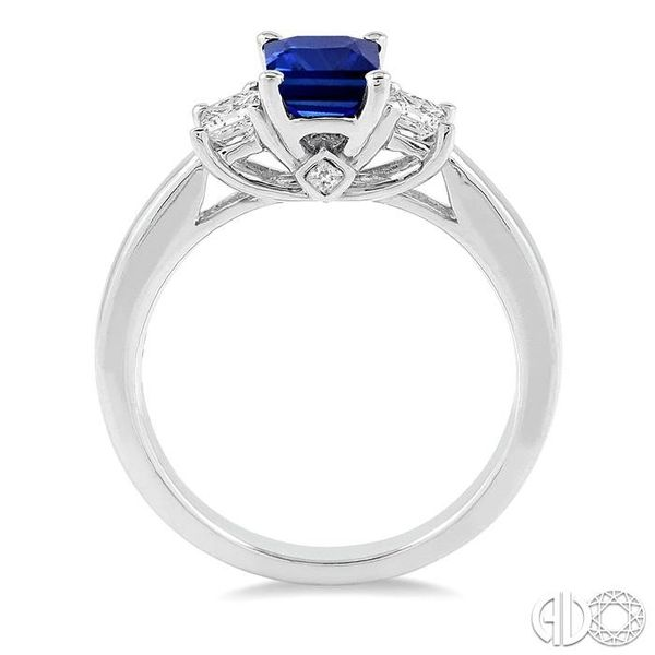 7X5mm Emerald Cut Sapphire and 3/8 Ctw Diamond Ring in 14K White Gold Image 3 Robert Irwin Jewelers Memphis, TN