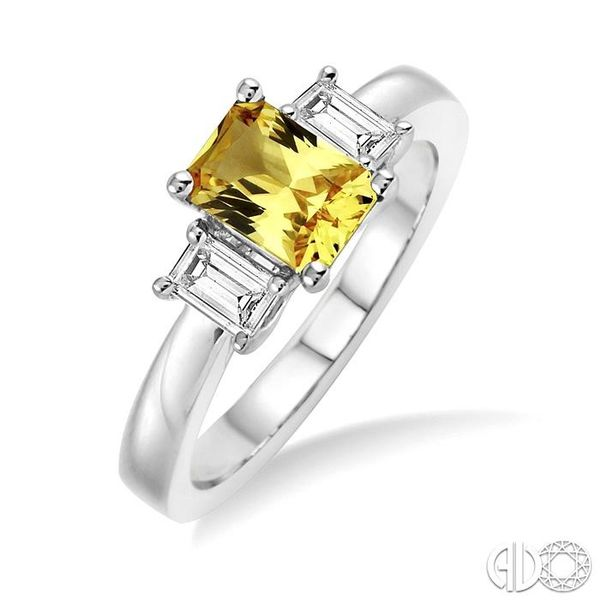 7X5mm Emerald Cut Yellow Sapphire and 3/8 Ctw Diamond Ring in 14K White Gold Robert Irwin Jewelers Memphis, TN