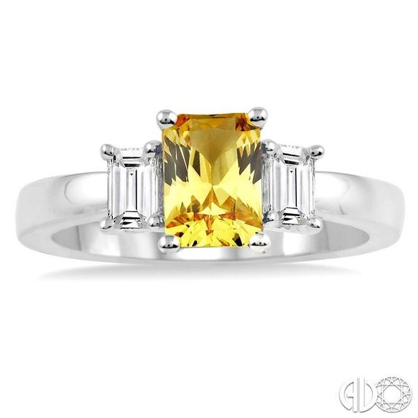 7X5mm Emerald Cut Yellow Sapphire and 3/8 Ctw Diamond Ring in 14K White Gold Image 2 Robert Irwin Jewelers Memphis, TN