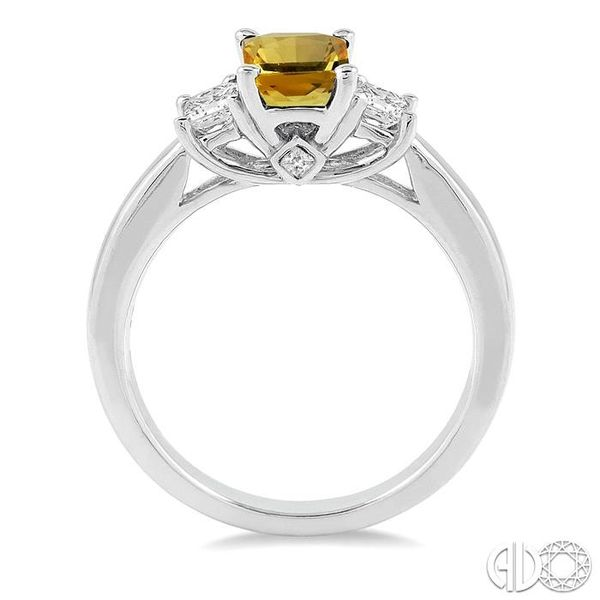 7X5mm Emerald Cut Yellow Sapphire and 3/8 Ctw Diamond Ring in 14K White Gold Image 3 Robert Irwin Jewelers Memphis, TN
