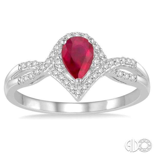 6x4 MM Ruby and 1/6 Ctw Round Cut Diamond Ring in 14K White Gold Image 2 Robert Irwin Jewelers Memphis, TN