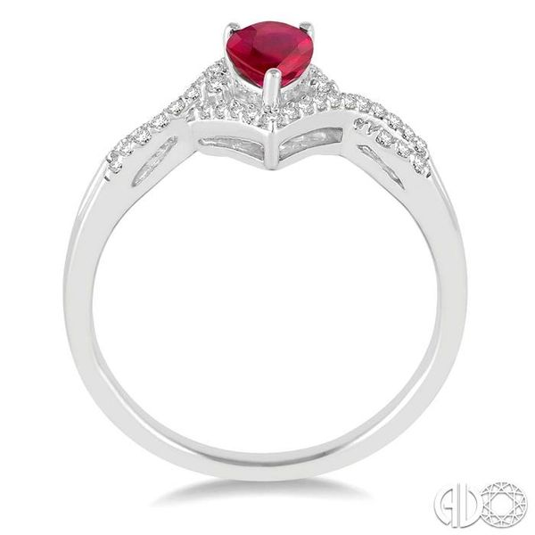 6x4 MM Ruby and 1/6 Ctw Round Cut Diamond Ring in 14K White Gold Image 3 Robert Irwin Jewelers Memphis, TN