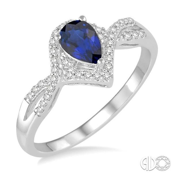 6x4 MM Sapphire and 1/6 Ctw Round Cut Diamond Ring in 14K White Gold Robert Irwin Jewelers Memphis, TN