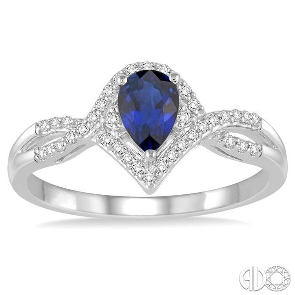 6x4 MM Sapphire and 1/6 Ctw Round Cut Diamond Ring in 14K White Gold Image 2 Robert Irwin Jewelers Memphis, TN