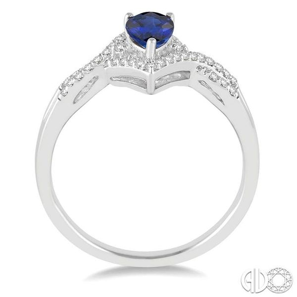 6x4 MM Sapphire and 1/6 Ctw Round Cut Diamond Ring in 14K White Gold Image 3 Robert Irwin Jewelers Memphis, TN