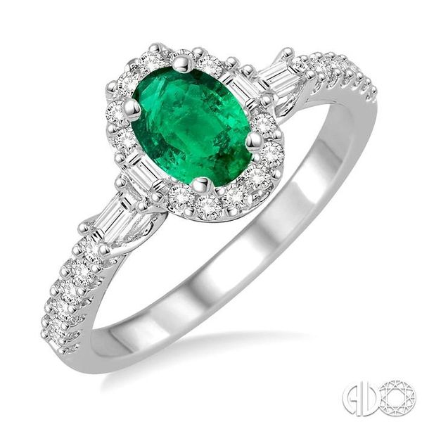 6X4 MM Oval Shape Emerald and 3/8 Ctw Diamond Ring in 14K White Gold Robert Irwin Jewelers Memphis, TN