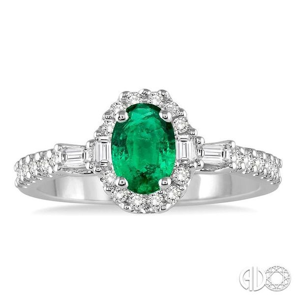 6X4 MM Oval Shape Emerald and 3/8 Ctw Diamond Ring in 14K White Gold Image 2 Robert Irwin Jewelers Memphis, TN