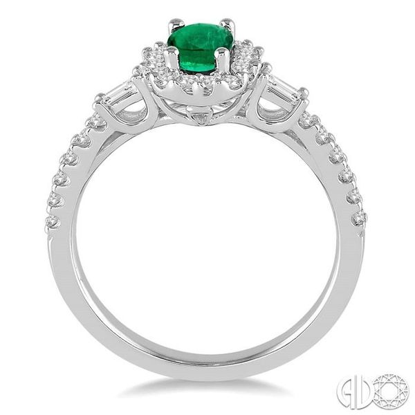 6X4 MM Oval Shape Emerald and 3/8 Ctw Diamond Ring in 14K White Gold Image 3 Robert Irwin Jewelers Memphis, TN