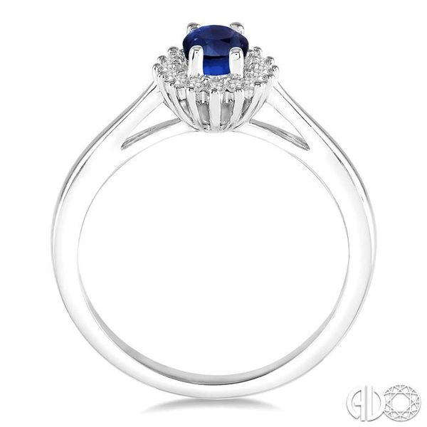 6X4MM Oval Cut Sapphire Center and 1/8 Ctw Round Cut Diamond Halo Precious Stone Ring in 10K White Gold Image 3 Robert Irwin Jewelers Memphis, TN