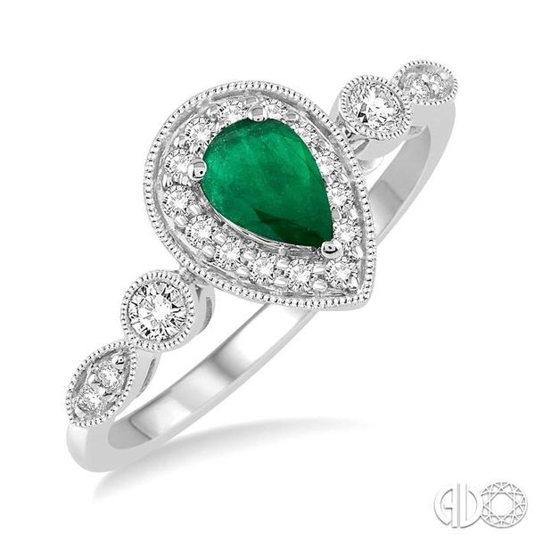6X4MM Pear shape Emerald Center and 1/4 Ctw Round Cut Diamond Ring in 14K White Gold Robert Irwin Jewelers Memphis, TN