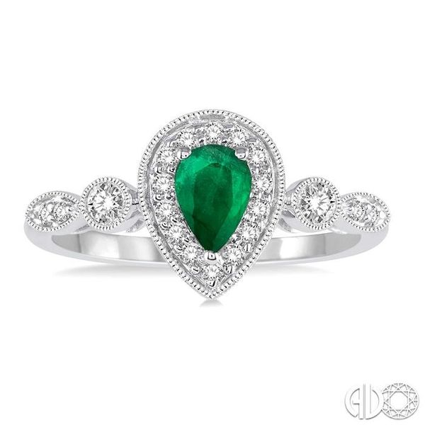 6X4MM Pear shape Emerald Center and 1/4 Ctw Round Cut Diamond Ring in 14K White Gold Image 2 Robert Irwin Jewelers Memphis, TN