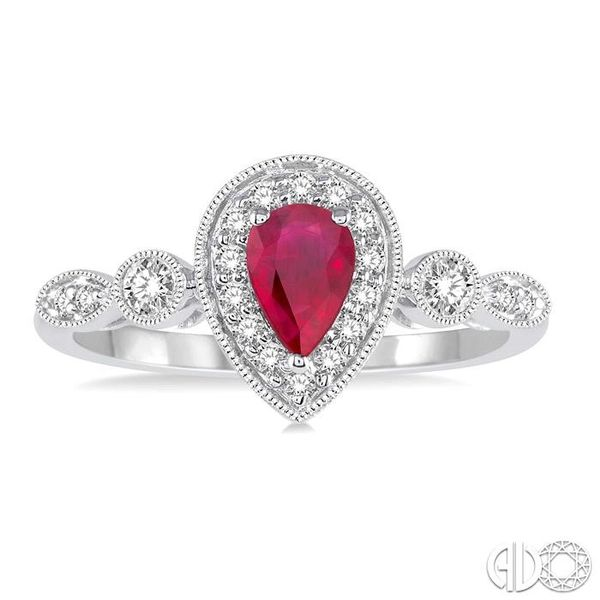 6X4MM Pear shape Ruby Center and 1/4 Ctw Round Cut Diamond Ring in 14K White Gold Image 2 Robert Irwin Jewelers Memphis, TN