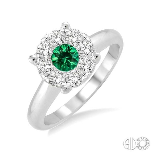 3.8 MM Round Cut Emerald and 1/3 Ctw Lovebright Diamond Ring in 14K White Gold Robert Irwin Jewelers Memphis, TN